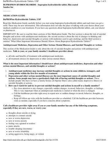 BUPROPION HYDROCHLORIDE - bupropion hydrochloride tablet ...