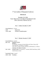 AAOM 2010 Main Conference - Detailed Program - Faculty of ...