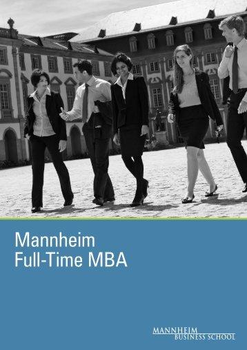 Mannheim Full-Time MBA Brochure - Mannheim MBA