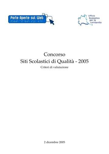 Concorso Siti Scolastici di Qualità ‐ 2005
