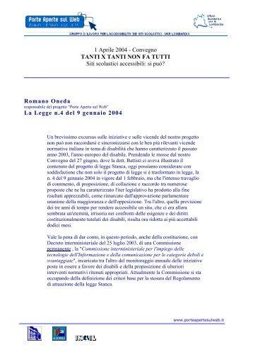 La legge 4, 9 gennaio 2004 - Porte aperte sul web