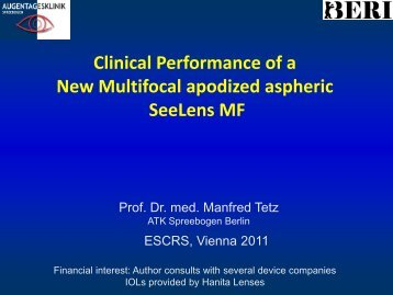 Clinical Performance of a New Multifocal apodized aspheric SeeLens MF
