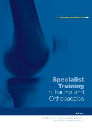 Specialist Training in Trauma and Orthopaedics