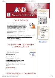 61° CONGRESSO SCIENTIFICO NAZIONALE ANDI CORSI RESIDENZIALI organizzati da
