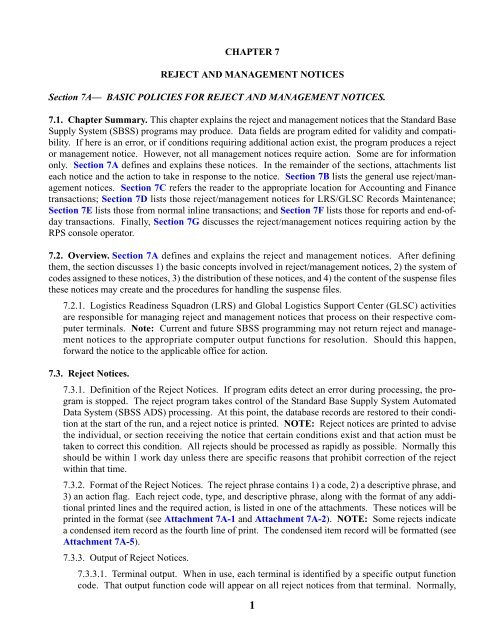 chapter 7 - reject and management notices - Air Force E ...