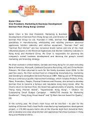 Karen Chan Vice President, Marketing & Business Development German ...