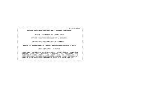 Bollettino movimenti provinciali - Ufficio Scolastico Territoriale di ...