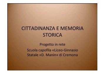 CITTADINANZA E MEMORIA STORICA