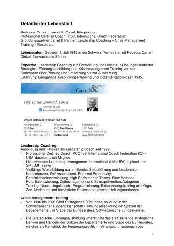 Detaillierter Lebenslauf - Carrel & Partner