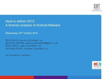 Hack.lu edition 2012 A forensic analysis of Android Malware