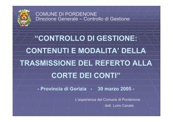 il referto del controllo di gestione - Comune di Pordenone