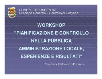 """workshop """"pianificazione e controllo nella pubblica amministrazione ..."""