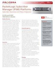 PacketLogic Subscriber Manager (PSM) Platforms