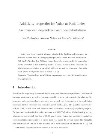 Additivity properties for Value-at-Risk under Archimedean - ETH Zürich