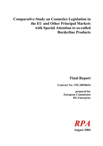 Comparative Study on Cosmetics Legislation in the EU and Other ...