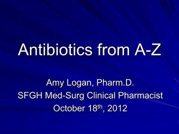 Antibiotics from A-Z
