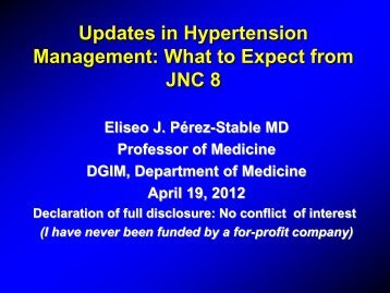Updates in Hypertension Management What to Expect from JNC 8