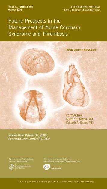 Future Prospects in the Management of Acute Coronary Syndrome and Thrombosis