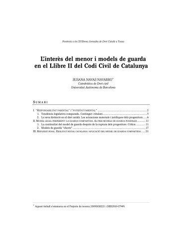 L'interès del menor i models de guarda en el ... - Àrea de Dret Civil
