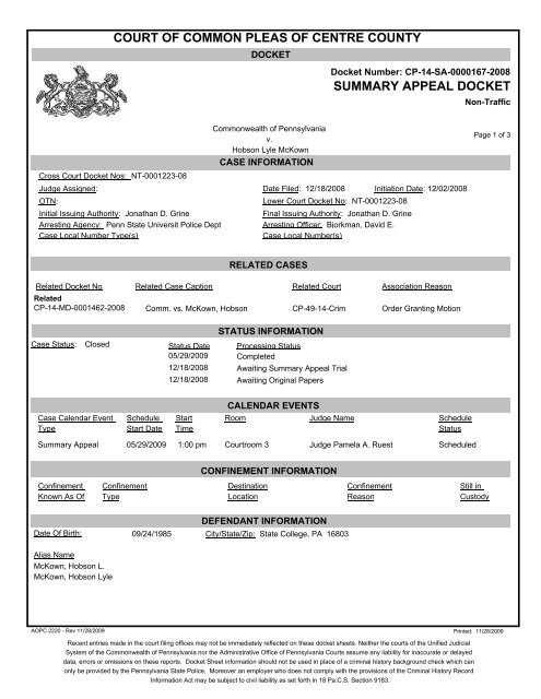 COURT OF COMMON PLEAS OF CENTRE COUNTY SUMMARY APPEAL DOCKET