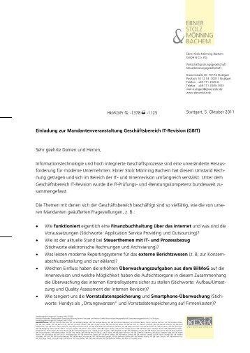 einladung - ebner stolz mönning bachem, Einladung