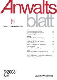 AnwaltsBlatt Titel - Deutscher Anwaltverein