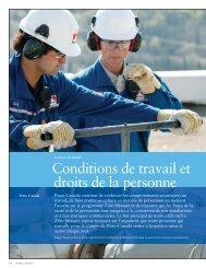 Conditions de travail et droits de la personne