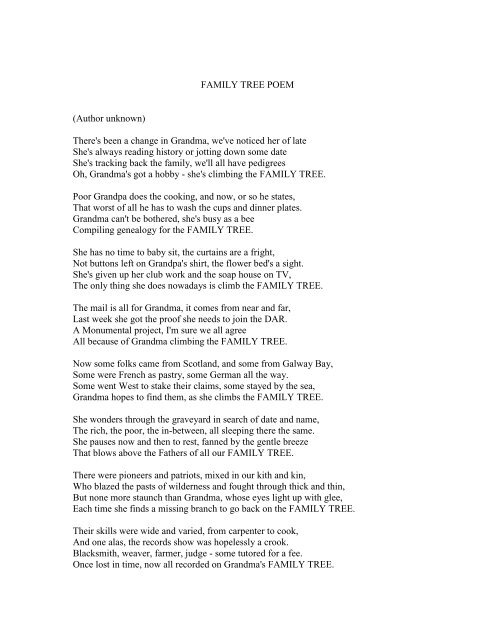 FAMILY TREE POEM (Author unknown) There's     - GoGaspe com