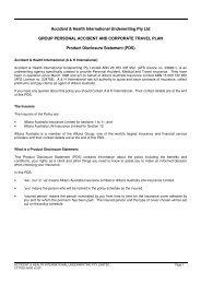 Accident & Health International Underwriting Pty Ltd GROUP ...