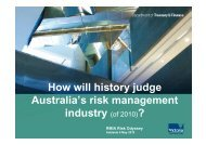 How will history judge Australia's risk management industry 2010)?
