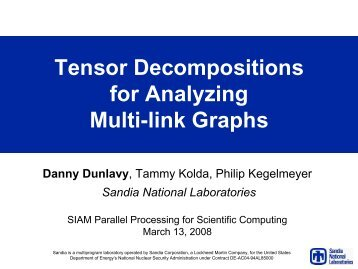 Tensor Decompositions for Analyzing Multi-link Graphs