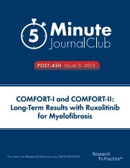 COMFORT-I and COMFORT-II Long-Term Results with Ruxolitinib for Myelofibrosis