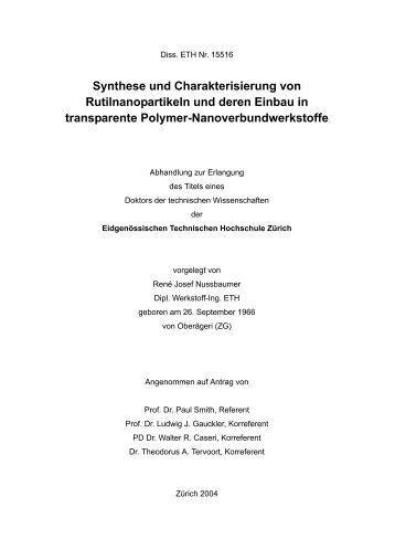 Synthese und Charakterisierung von Rutilnanopartikeln und deren ...