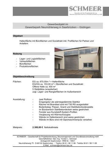 Gewerbeobjekt im Gewerbepark Neumühlerweg in Saarbrücken ...