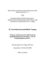 42. Gartenbauwissenschaftliche Tagung - (DGG) und des