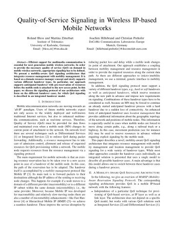 Quality-of-Service Signaling in Wireless IP-based Mobile Networks
