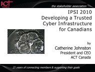 IPSI 2010 Developing a Trusted Cyber Infrastructure for Canadians