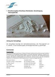 1. Erweiterungsbau Schulhaus Steinboden, Genehmigung ...