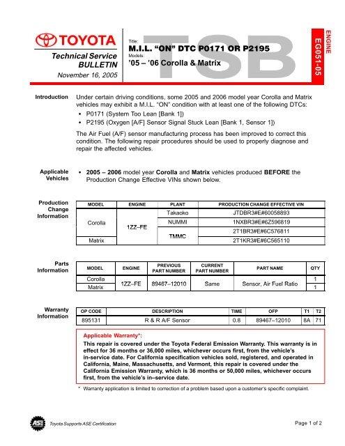 p2195 code toyota corolla