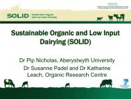 Sustainable Organic and Low Input Dairying (SOLID)