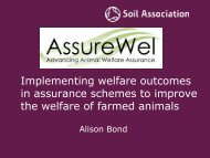 in assurance schemes to improve the welfare of farmed animals