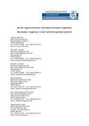 Bei der Ingenieurkammer Thüringen eintragene Ingenieure ...