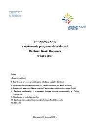 SPRAWOZDANIE z wykonania programu działalności Centrum ...