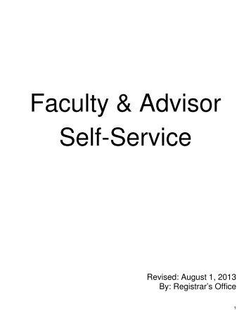Faculty & Advisor Self-Service