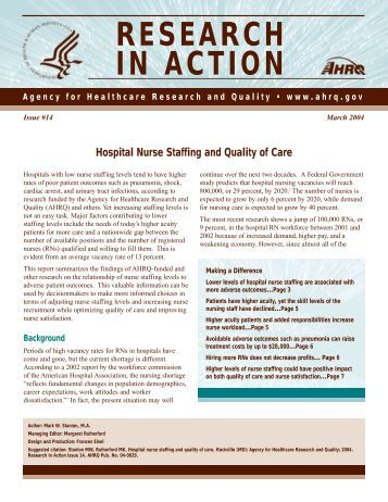 Hospital Nurse Staffing and Quality of Care - Agency for Healthcare ...