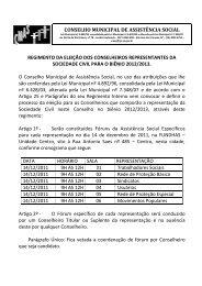 conselho municipal de assistência social regimento da eleição dos ...