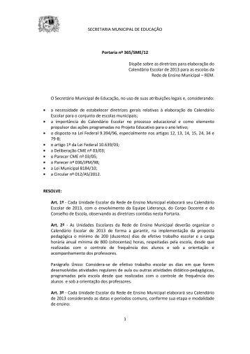 Portaria 365-SME-12 Calendário Escolar 2013 - Prefeitura ...