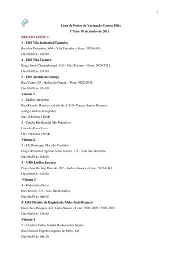 Lista de Postos de Vacinação Contra Pólio 1ª Fase 18 de Junho de ...