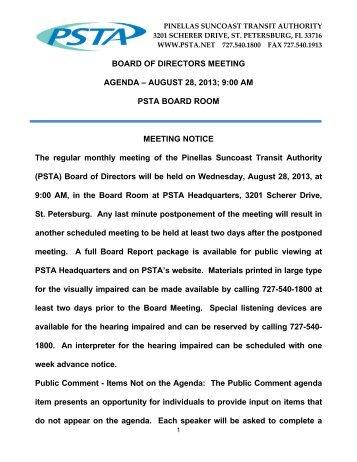 BOARD OF DIRECTORS MEETING AGENDA – AUGUST 28 ... - PSTA