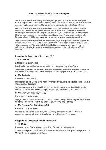 Plano Macroviário - Prefeitura Municipal de São José dos Campos